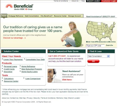 Beneficial.com home page before multivariate testing