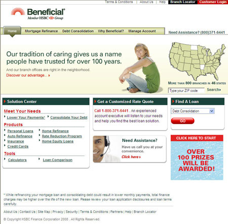 After: Beneficial home page