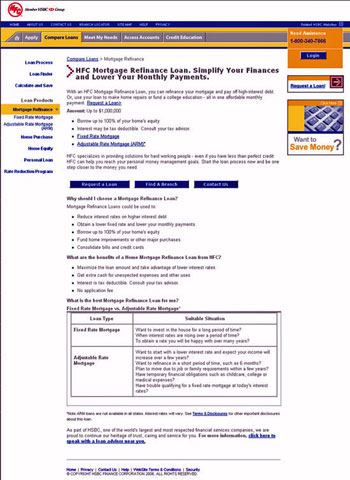 Before: HFC.com Mortgage Refinance