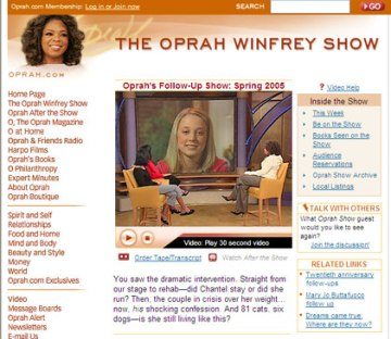 TOWS video on Oprah.com