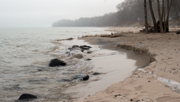 My beach with boulders fading to sand